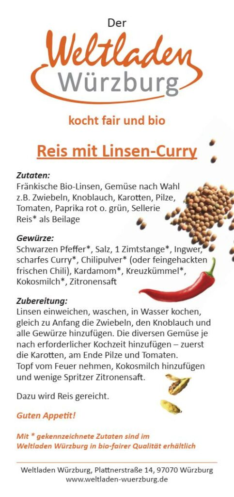 Linsencurry Rezept Würzburg Weltladen